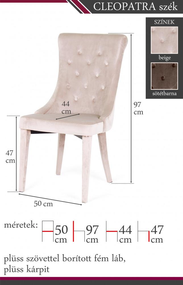 Cleopatra fémvázas masszív kárpitozott szék