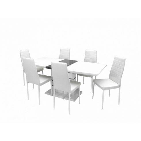 Aurél asztal 140 es Fehér Szürke + 6 db Geri fehér szék