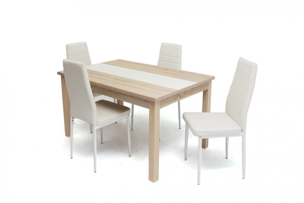 4 db fehér szék asztallal