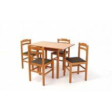Kis Wénusz asztal 120 as Dió + 4 db Ervin Barna szék, kis mé