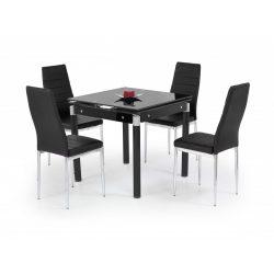 Kent üvegtetős bővíthető étkezőasztal Fekete festett 80-130x80x76 cm