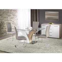 Vilmer üvegtetős étkezőasztal Sonoma és Fehér színben 160x90x76 cm