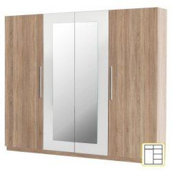 MARTINA Szekrény, négyajtós, tükrös, sonoma tölgyfa/fehér vagy diófa/fekete színben, 228x60x213cm