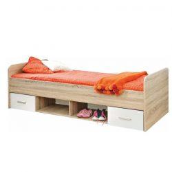 EMIO 04 ágy fiókokkal, sonoma tölgyfa és fehér/zöld színben 90x200 cm