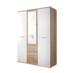 EMIO 01 3 ajtós szekrény, sonoma tölgyfa és fehér/zöld színben 135x55x190 cm
