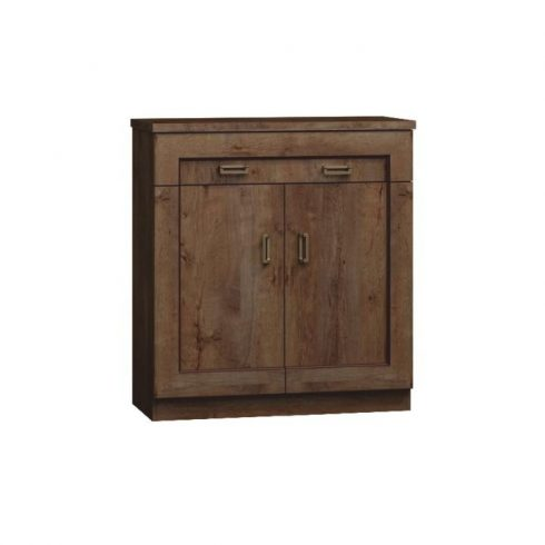 Tedy TYP2 két ajtós fiókos rusztikus komód, lefkas tölgy színben 90x44x110 cm