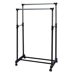 OLIVER Görgős állítható magasságú ruhaállvány, rozsdamentes fém és fekete műanyag színben ø80x85 cm