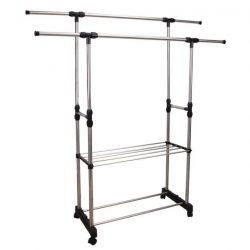 SEBO Görgős állítható magasságú ruhaállvány, rozsdamentes fém és fekete műanyag színben ø80x90 cm