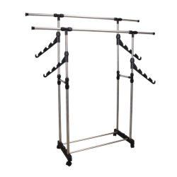 ALEXO Görgős állítható magasságú ruhaállvány, rozsdamentes fém és fekete műanyag színben ø145x90 cm