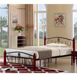 Magenta rusztikus fém ágy, ágykeret ágyráccsal, fekete- calvados színben 92-142x211x86 cm
