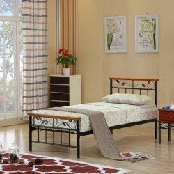 Morena fém ágy, ágykeret ágyráccsal, fa csersznye, fém fekete színben 90-160x98x208 cm