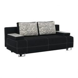 ELIZE kanapé ágyfunkcióval, ágyneműtartóval, szürke mintás díszpárna 196x75x87 cm