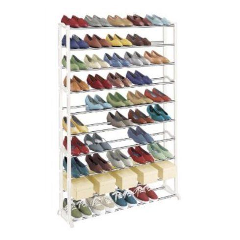 BOTIS TYP 1 10-soros műanyag és fém cipőpolc, fehér színben ø90x16x140 cm