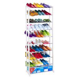 BOTIS TYP 2 10-soros műanyag és fém cipőpolc, fehér színben ø51x16,5x141 cm