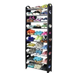 BOTIS TYP 5 10-soros műanyag és fém cipőpolc, szürke és fekete színben ø64x19,5x154 cm