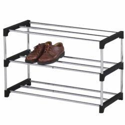 MONTEGO műanyag és krómozott cipőpolc, krómozott és fekete színben ø80x31x49,5 cm