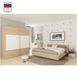 Gabriela teljes Hálószoba szett (szekrény+ágy 180x200+2db éjjeliszekrény) sonoma tölgyfa/fehér vagy
