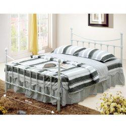 Nieves fém ágy, ágykeret ágyráccsal, fém fehér színben 92-142-162x208x105/85 cm
