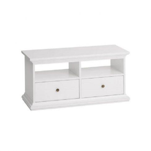 Paris két fiókos TV asztal 77812, DTD fóliázott, festett fehér MDF 102,6x41,6x50,8 cm
