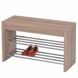LUSIA cipőtartó paddal, sonoma tölgy és króm / fehér és króm színben ø80x47 cm