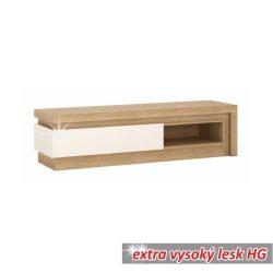 Leonardo 02 TV asztal, riviéra tölgy extra magas fényű fehér