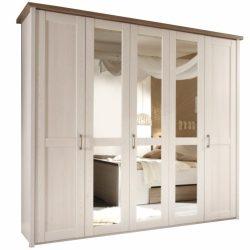 Lumera szekrény tükörrel, mandulafenyő fehér/sonoma tölgy trufla színben 241x62x219 cm