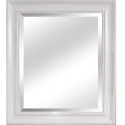 MALKIA TYP 2 Elegáns tükör fakerettel, fehér színben 54x64 cm
