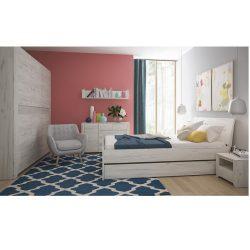 Angel teljes hálószoba szett (szekrény+ágy 160x200+2db éjjeliszekrény) fehér craft színben