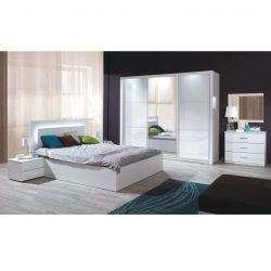 Asiena Teljes hálószoba szett (szekrény 208 + ágy 160x200 cm + 2 db éjjeliszekrény), fehér-extra mag