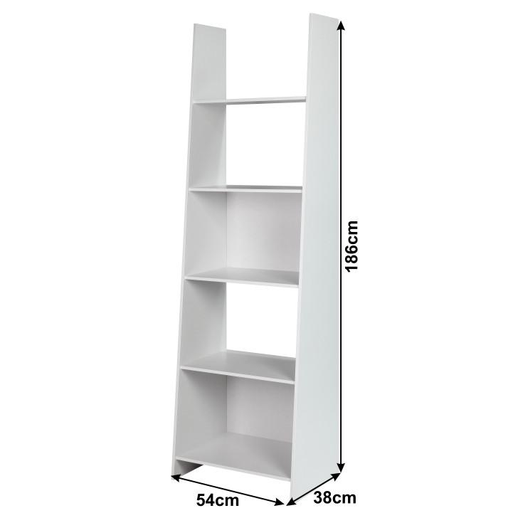 DEKATO modern könyvespolc, fehér fekete színben, 54x38x186 cm