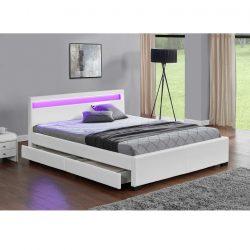 Clareta Ultramodern ágy RGB LED világítással, fehér textilbőr kárpittal 168-188x214x85 cm