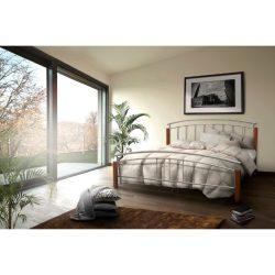 Mirela fém ágy, ágykeret ágyráccsal, fa csersznye, fém ezüst színben 140-160-180x212 x 108 cm
